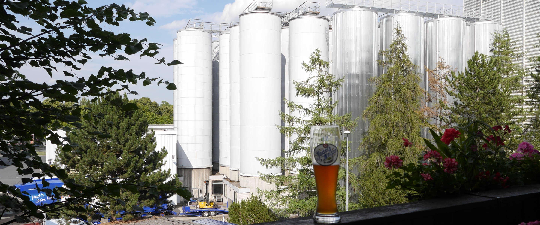 Blick auf die Lagertanks der Brauerei Gebr. Maisel KG Bayreuth