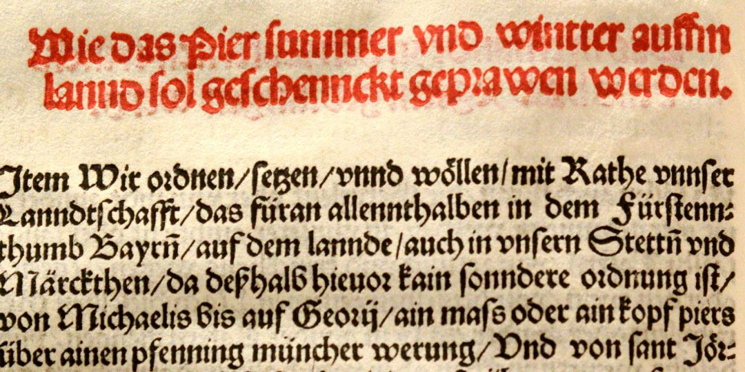 Originalurkunde der Bayrischen Landesordnung vom 23. April 1516