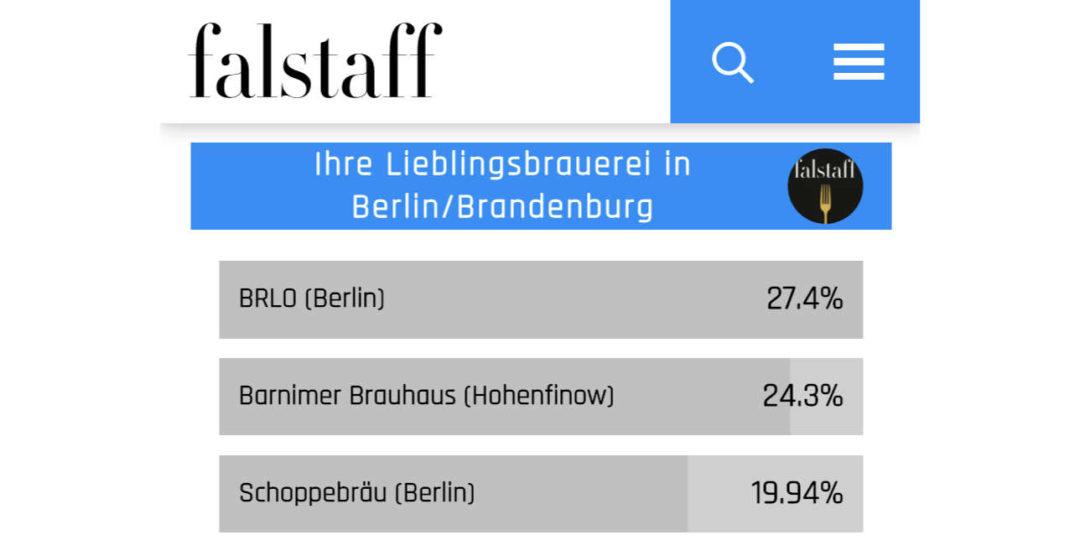 Ergebnis der beliebtesten Kleinbrauereien im Falstaff-Magazin 2020 für Berlin/Brandenburg